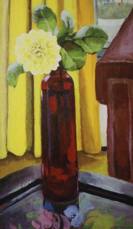"Dahlia in a Red Dress, 2004, acrylic on panel 12"" x 20"""