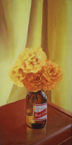 "Marigolds, 2005, oil on panel 12"" x 24"""