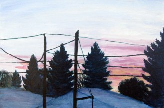 "October Sunrise, Oct. 2010, acrylic on masonite, 24"" x 16"""