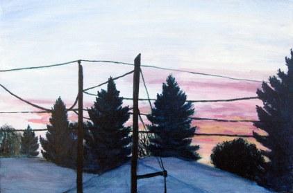 """October Sunrise, Oct. 2010, acrylic on masonite, 24"""" x 16"""""""