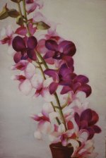 "Orchids, 2006, oil on panel 16"" x 24"""