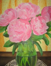 "Peonies, 2007, oil on panel 28"" x 36"""
