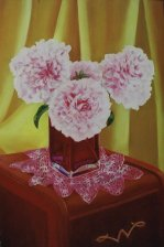 "Peonies, 2005, oil on panel 24"" x 36"""