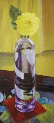 "Purple vase, 2004, acrylic on panel 9"" x 19"""