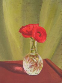 "Red Poppies, 2008, acrylic on panel 9"" x 12"""