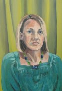 "Self-portrait with Green Drapes, Oct. 2010, acrylic on masonite, 16"" x 24"""