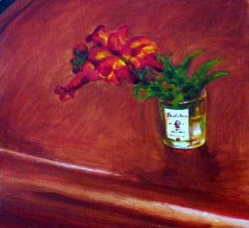 "Snapdragons in Shot glass, Jun. 2010, acrylic on masonite, 15"" x 14"""