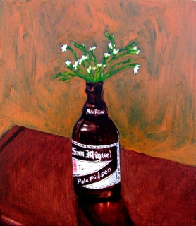 "Snow-in-summer in Beer bottle, Jun. 2010, acrylic on masonite, 14"" x 24"""