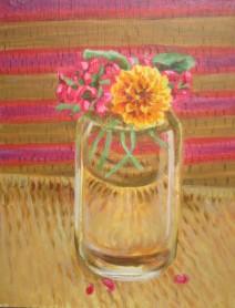 "Summer Flowers, Jun. 2007, acrylic on panel 12"" x 15"""