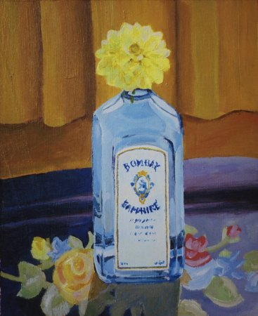 "Well hello Mr. Gin!, 2004, acrylic on panel 11"" x 14"""