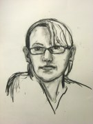 Self Portrait quick study, 2010, charcoal on paper