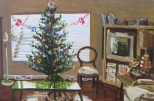 "Living room with Tree, 3pm, 2010, acrylic on masonite, 24"" x 16"""