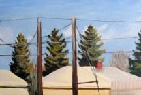 "Sunny winter day, Jan. 2011, acrylic on masonite, 24"" x 16"""