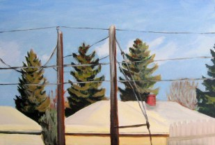 "Sunny winter day, Jan. 2011, acrylic on masonite, 24"" x 16"""