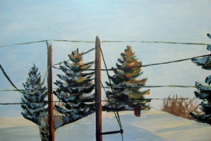 "Backyard, mid-morning February 8, 2011, acrylic on masonite, 24"" x 16"""
