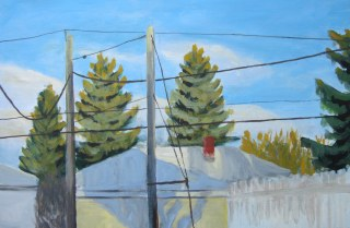 "Right before sunset, Feb. 2011, acrylic on masonite, 24"" x 16"""