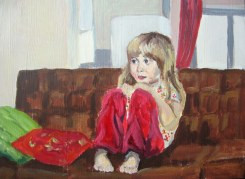 "Study of Poppy watching T.V., Feb. 17, 2011, acrylic on masonite, 16"" x 12"""