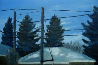 "Dusk, Mar. 2011, acrylic on masonite, 16"" x 24"""