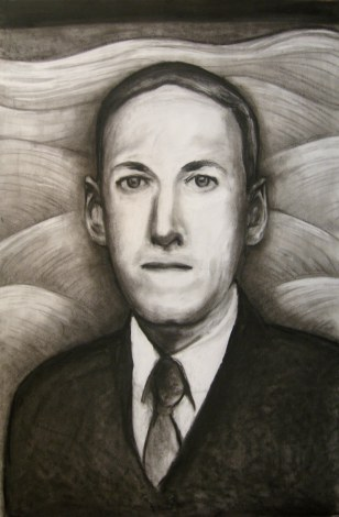 "Lovecraft charcoal, Mar. 2011, charcoal on paper, 23"" x 35"""