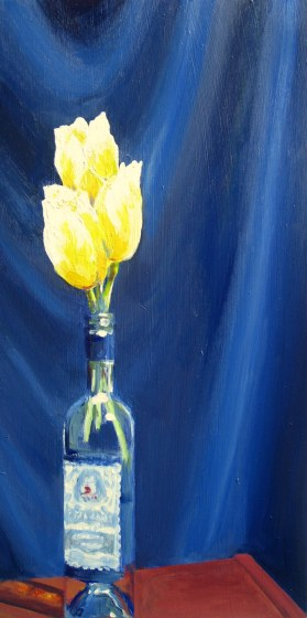 "Blue Tulips, June 2011, acrylic on masonite 12"" x 24"""
