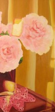 "Peonies and reflections, April 2011, oil on masonite 12"" x 24"""