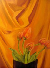 "Tulips, April 2011, oil on masonite, 24"" x 32"""