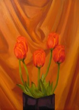 "Tulips II, April 2011, oil on masonite, 24"" x 32"""
