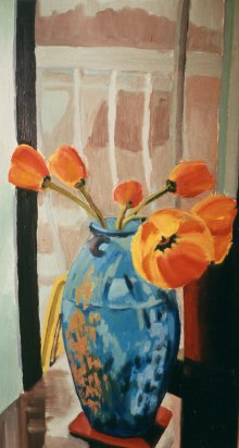 "Tulips March 22, 2003, oil on masonite, 24"" x 48"""