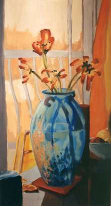 "Tulips March 29, 2003, oil on masonite, 24"" x 48"""