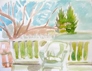 My Backyard water colour, May 4, 2011
