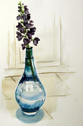 Delphiniums on kitchen floor, July 19, 2011, water colour on paper