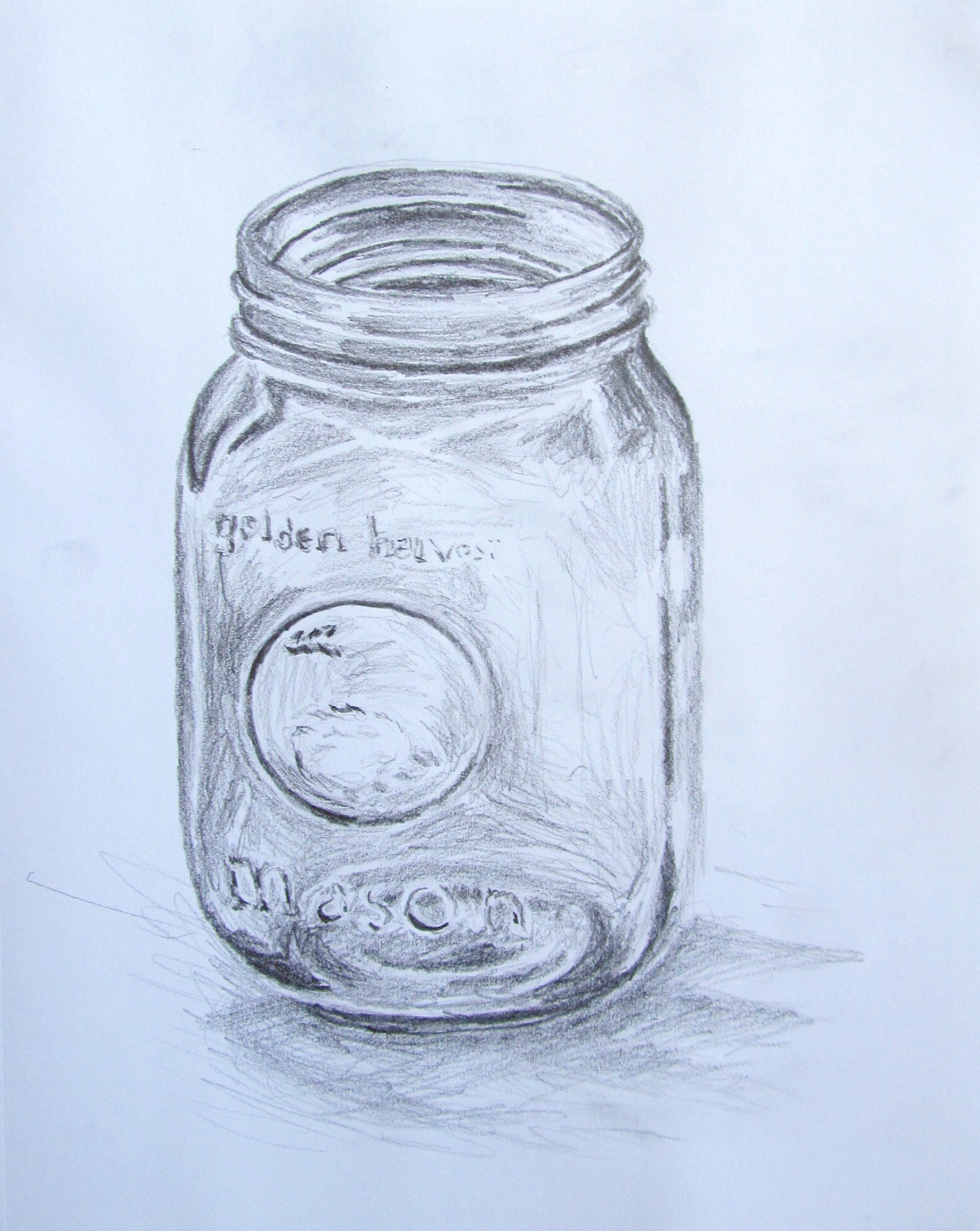 Blue Mason Jar Drawing Below is The First Study That