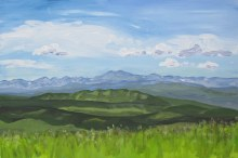"Landscape at Leighton Centre, July 16, 2011, acrylic on masonite, 16"" x 24"""