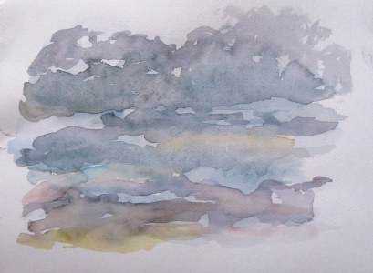 Storm clouds and sunset, July 25, 2011, watercolour on paper