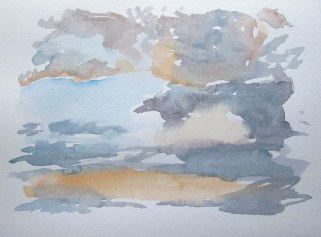 Sunset and clouds, July 25, 2011, watercolour on paper