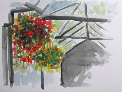 Downtown Calgary hanging planters, Jul. 29, 2011, watercolour on paper
