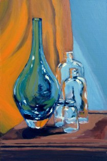 "Blue vase, clear jars still life, Sept. 2011, acrylic on masonite 12"" x 18"""