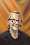 "Self Portrait in Black and Orange, Sept. 2011, acrylic on masonite 16"" x 24"""