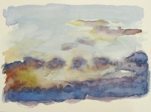 Clouds at dusk, Oct. 4, 2011 watercolour on paper