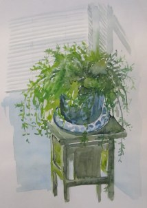 Kensington studio plant, Oct. 15, 2011 watercolour on paper