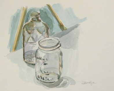 Pint and mason jar still-life, Oct. 2011 watercolour on paper