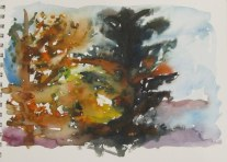 Sunset through trees, Oct. 4, 2011 watercolour on paper