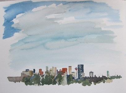 Skyline, Nov. 26, 2011 watercolour on paper