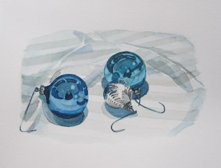 Blue ornaments, Dec. 19, 2011 watercolour on paper