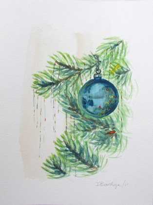 Tree and Ornaments 1, Dec. 2011 watercolour on paper