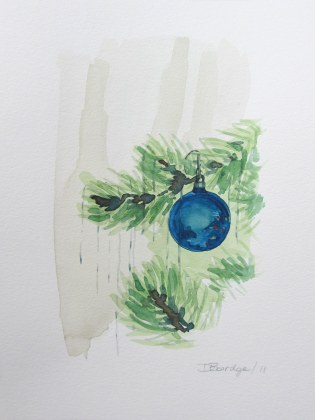Tree and Ornaments 2, Dec. 2011 watercolour on paper