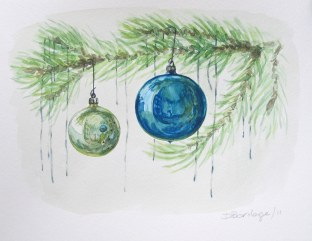 Tree and Ornaments 3, Dec. 2011 watercolour on paper
