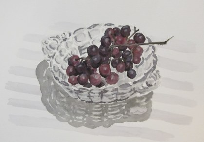 Grapes in glass dish, Feb. 7, 2012 watercolour on paper