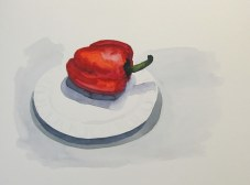 Red pepper on plate, Feb. 12, 2012 watercolour on paper