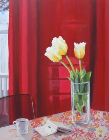 The first tulips, May 13, 2012 acrylic on masonite 16in. x 20in.